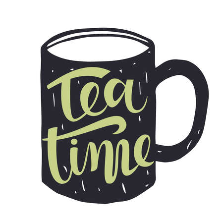 Hand drawn silhouette of a tea cup with inscription - Tea Time Иллюстрация