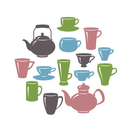 Vector set of cups and teapots of various shapes isolated on a white background