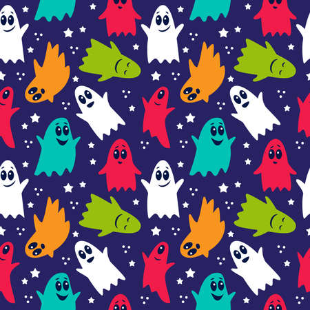 Seamless pattern of cute funny cartoon ghosts on a black background
