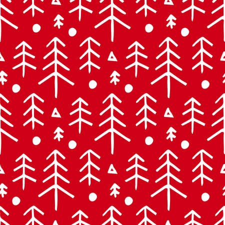 Seamless christmas red pattern with with fir trees. Winter snowy forest background Иллюстрация