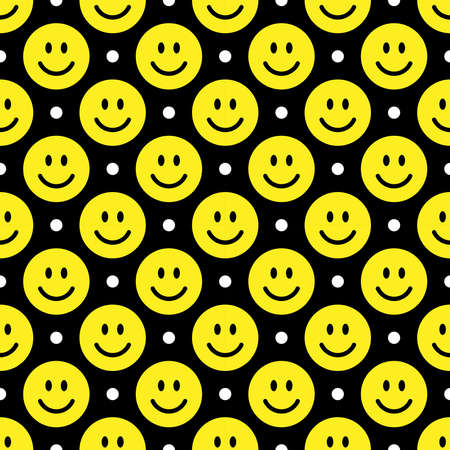 Smile icon pattern. Happy faces on a black background. Vector abstract background