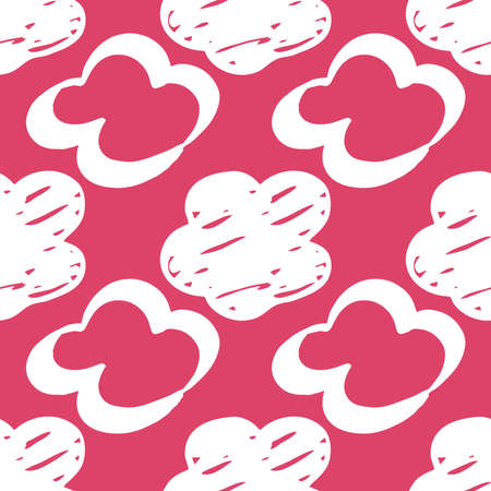 Seamless drawn cloud pattern. Brush painted clouds on a pink background Иллюстрация