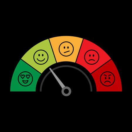 Vector scale of colorful survey icons. Customer feedback measurement round scale 1 to 5 isolated on back background Иллюстрация