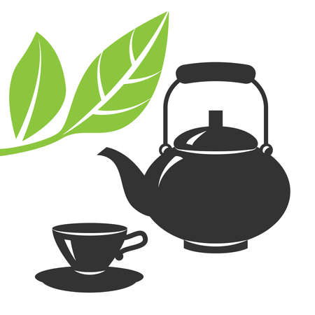 Vector icons of teapot and tea cup isolated on a white background Иллюстрация