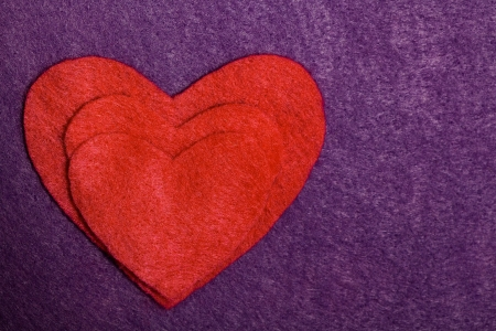 multilayer: Felted Multilayer Heart Silhouette Card Stock Photo