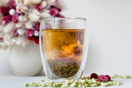 Flowering Tea and Dry Flowers photo