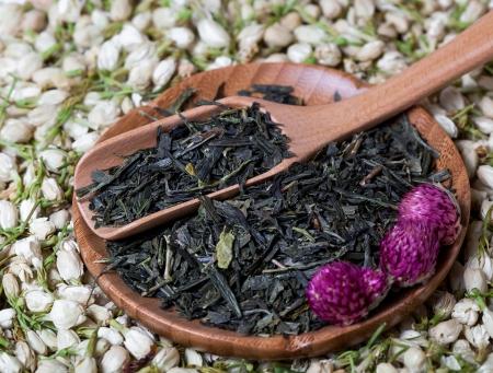 composition: Dry Tea Flowers Composition Stock Photo