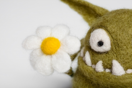 Felted Toy Mosters with Flower photo