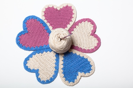 Crochet Knitted Hearts Flower photo