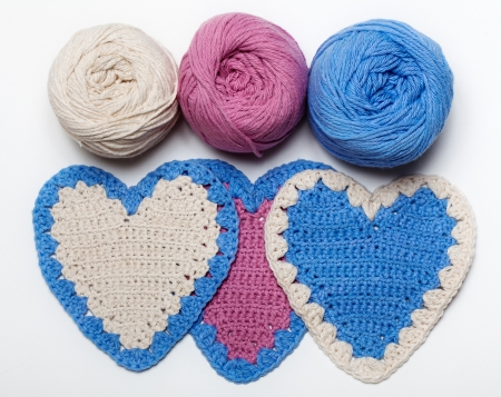 White Pink Blue Crochet Knitted Heart on White Background