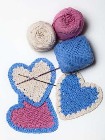 White Pink Blue Crochet Knitted Heart