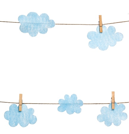 Blue Felted Clouds on Clothesline White Background
