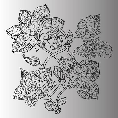 azure: Hand-drawn ethnic flowers with azure swirls on petals Illustration