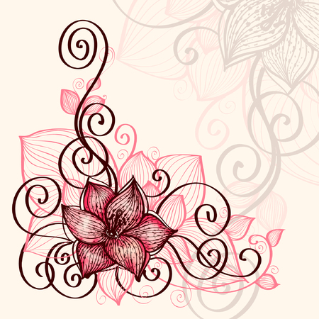 pastel color: Hand-drawn calligraphy sketch with floral swirls Illustration