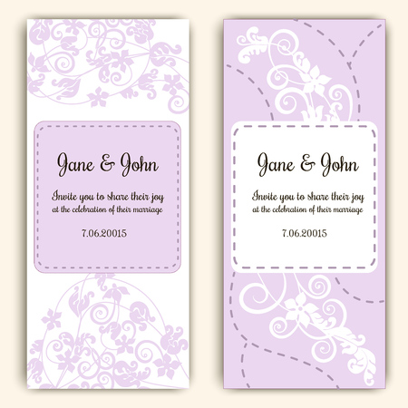 scrap: Beautiful template of wedding cards decorated with floral ornament Illustration