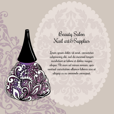 nail lacquer: Creative nail lacquer promotional poster with stylish designed elements