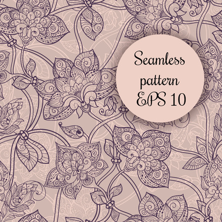 olive green: Beautiful seamless ornament in beige with swirls and flowers Illustration