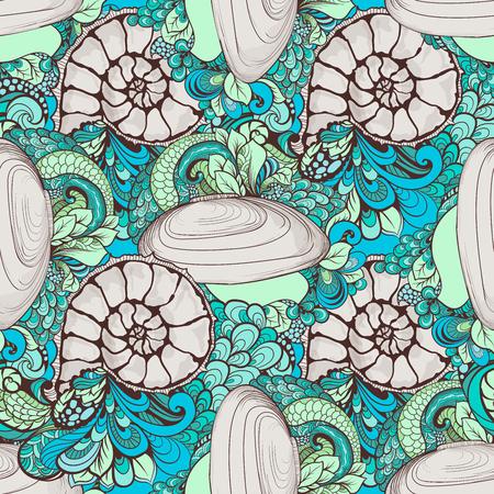 Cute seashells pattern with swirls and nautilus
