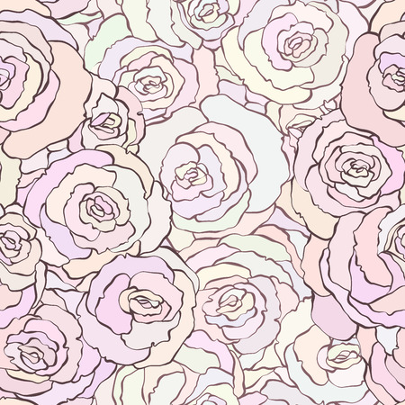 the season of romance: Seamless pattern with beautiful roses in soft colors