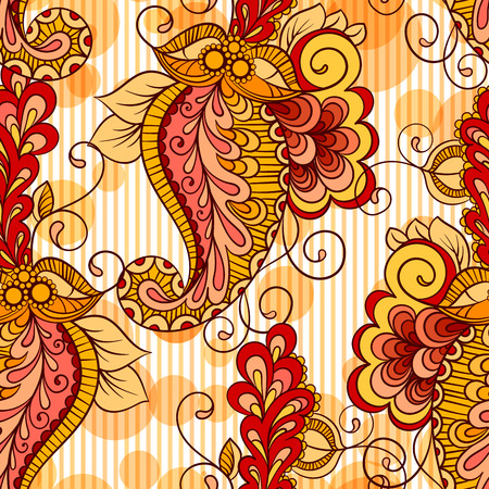 Seamless pattern based on traditional Asian elements Paisley in bright orange colors Illustration