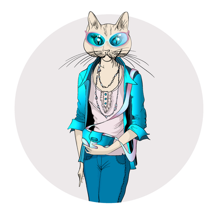 dressed: Fashion illustration of cat girl dressed up in casual style with clutch and jacket
