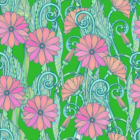 gerbera daisy: Seamless gerbera daisy flowers pattern on gren background Illustration