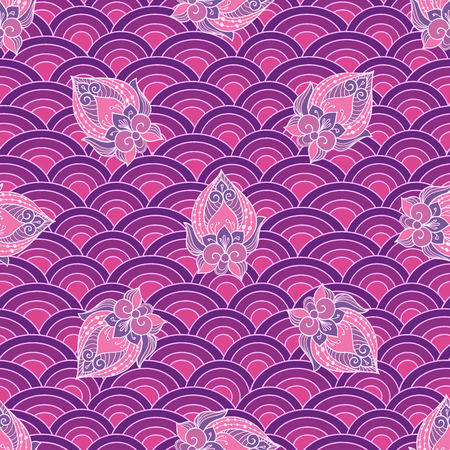 scallops: Waves and scallops  seamless pattern in purple colors for backgrounds and wallpapers