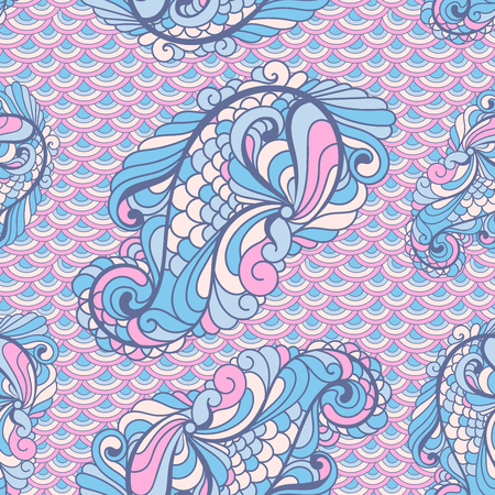 scallops: Vector seamless paisley pattern in soft colors on scallops Illustration