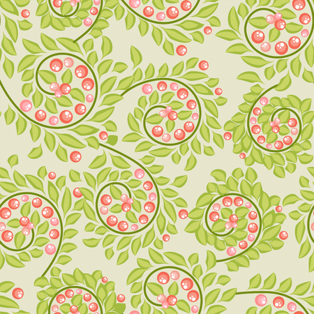 brunches: Seamless pattern with berries on brunches  on pastel green background Illustration