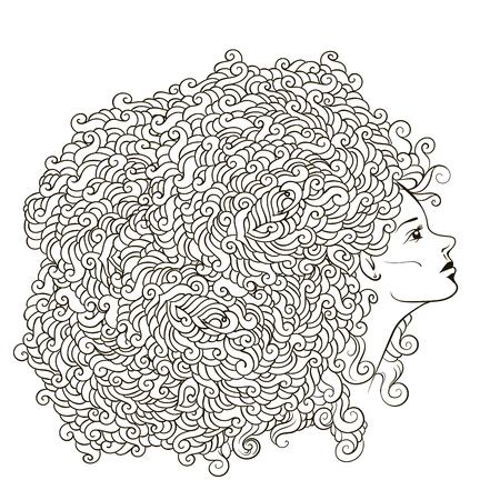 chica con guirnalda de flores abstracto en la cabeza. patrón de contorno incoloro. Puede ser utilizado como libro de colorear para adultos, tarjeta, invitación, impresión de la camiseta. chica joven con los pelos del doodle.