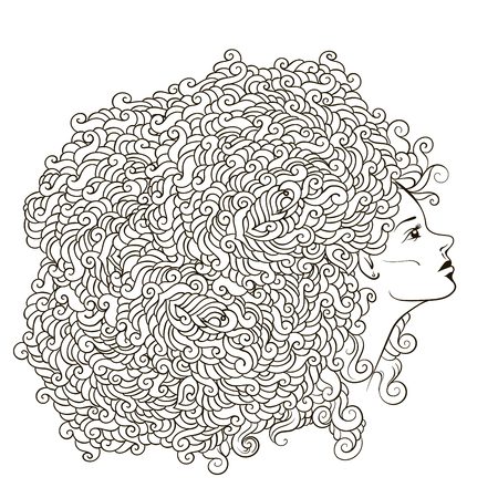 girl with abstract flower garland on the head. Uncolored contour pattern. Can be used as adult coloring book, card, invitation, t-shirt print. young girl with doodle hairs.