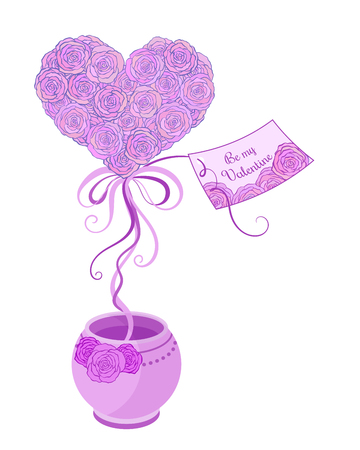 topiary: Small spring tree  topiary with  pink roses  and ribbons in violet pot for valentine day greeting card