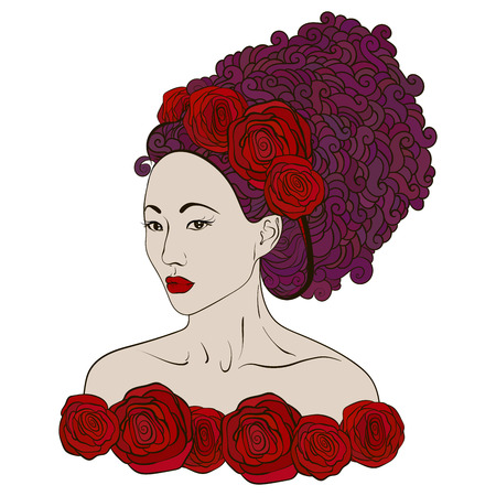 asian woman: fashion asian woman with abstract hair and floral design elements.Red roses in hair of eastern girl Illustration