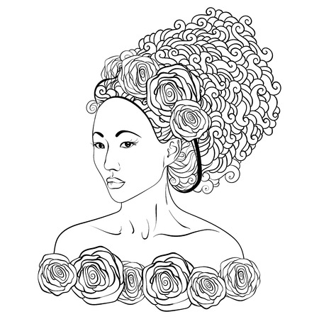 stylized illustration of a geisha girl. Japanese girl. Doodle style. Can be used as adult coloring book, coloring page, card. Иллюстрация
