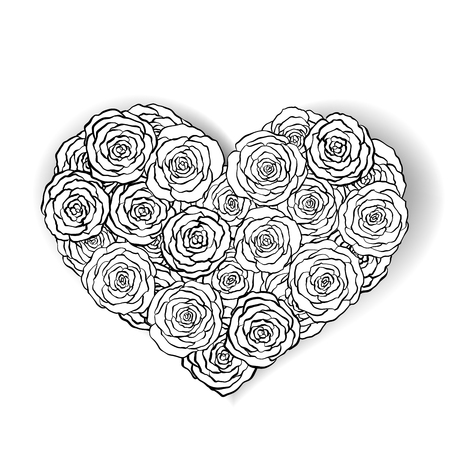 line rose heart shape illustration. Great for wedding invitations, greeting, birthday and valentines cards.  line rose. Illustration