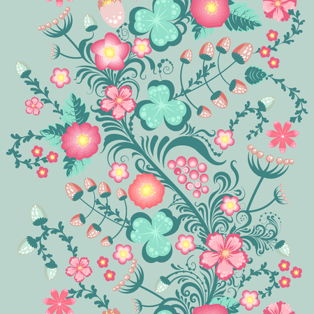 Spring floral seamless pattern in soft pastel colors cute seamless background Illustration