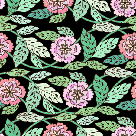 soulful: Colorful meadow watercolor flowers Seamless pattern on black background vector illustration