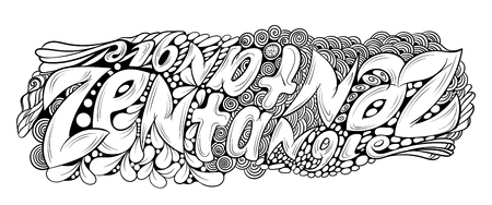 mirrored: Vector monochrome hand drawn zentagle text illustration. Mirrored intricate lettering. Title for coloring Hand Draw page with high details isolated on white background