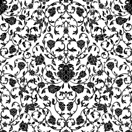 decoraton: Vector intricate seamless pattern Eastern style on white background. Ornate element for design.Monochrome line art ornamental decoraton for wedding invitations and greeting cards