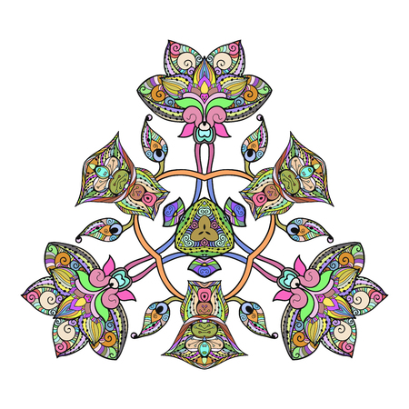 sacramental: Abstract unusual triangle floral decor lace mandala for your design or tattoo.Vector ornament isolated on white Illustration