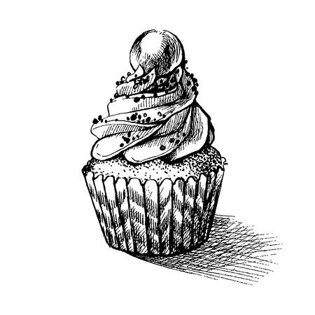 かわいい cremy の甘いカップケーキのベクトル黒と白のスケッチ イラスト。グリーティング カードやパーティの招待状に使用できます。