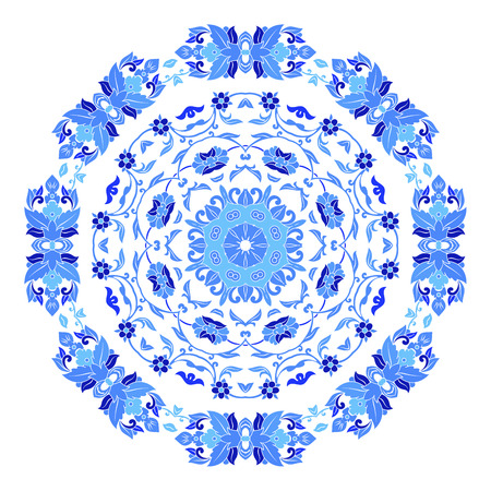 Indian round ornament, kaleidoscopic floral pattern, mandala. Design made in Russian gzhel style and colors Illustration