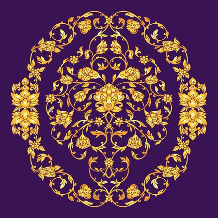 friso: Vector elemen adornado en estilo oriental en el fondo de color violeta oscuro. la decoración floral de la vendimia ornamental para las invitaciones de boda y tarjetas de felicitación. la decoración tradicional del oro