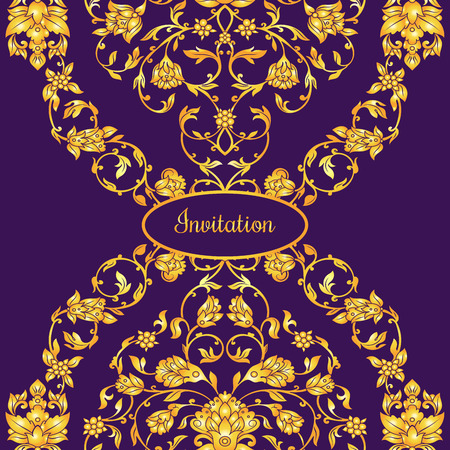 friso: Floral decorated invitation card with antique, luxury violet and gold vintage ornament, victorian banner, damask baroque style booklet, fashion pattern, template for design. Vectores