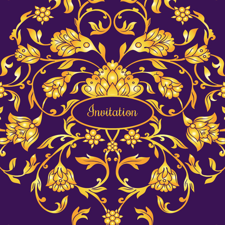 Floral decorated invitation card with antique, luxury violet and gold vintage ornament, victorian banner, damask baroque style booklet, fashion pattern, template for design. Illustration