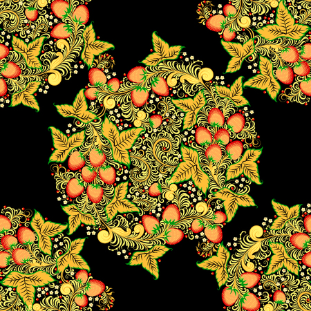 Traditional Russian vector seamless pattern in khokhloma style with flowers and berries in round wreath. Illustration