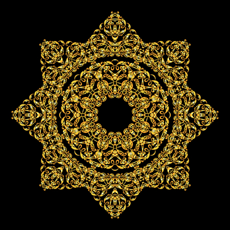 symmetry: Mandala round ornament.Arabic Vintage decorative ornament.Mandala gold background. .Abstract Tribal ethnic texture.Orient,symmetry lace,meditation symbol.