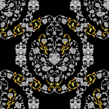 black and silver: Floral decorated seamless pattern with antique, luxury silver and gold vintage ornament on black background, victorian , damask baroque style booklet, fashion ornate, template for design.
