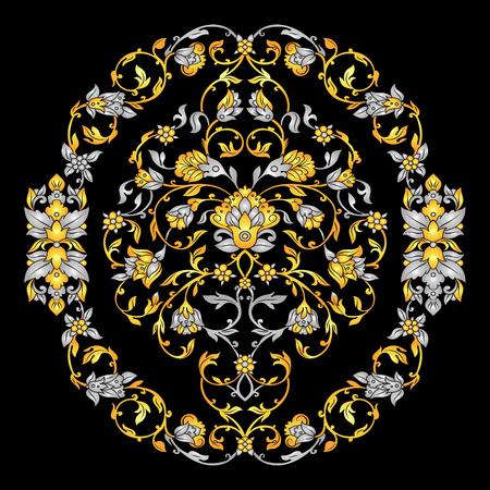 friso: tarjeta de invitación decorado con flores, plata de lujo antiguos y adornos de oro de la vendimia en el fondo negro,, folleto del damasco del estilo barroco victoriano, patrón de la moda, la plantilla de diseño.