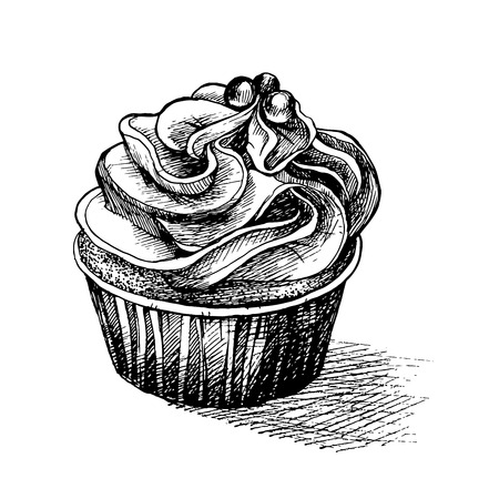 Vector black and white sketch illustration of cute creamy sweet cupcake with big icing and eatable decor.can be used for greeting cards or party invitations.